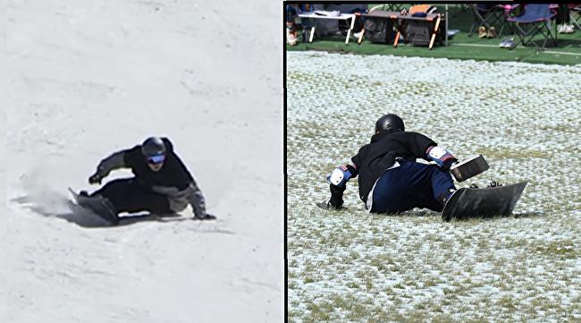 雪面・サマーゲレンデでお尻を着くヒールサイドターンをしている画像