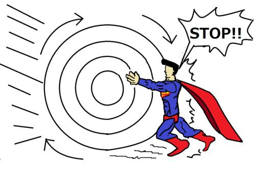 高回転のものを超人が止めようとしている画