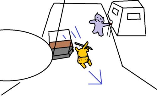2.低い姿勢のまま斜めの方向に避けるように動く