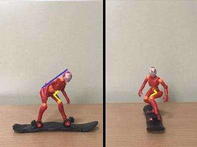 2.進行方向側に少し体を開き、前側の股関節を曲げるようにして前にかがむ 斜面に対して、上半身が並行に近い姿勢を作るイメージ