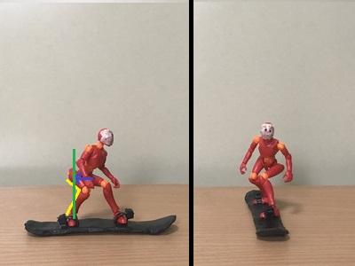 2.進行方向側に少し体を開くようにする 後ろ脚を曲げて、腰の位置を後ろ足の上辺りか、それよりテール側に引く