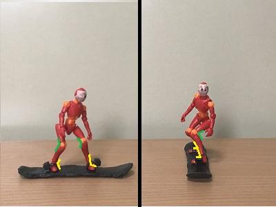 2.「足首」を曲げて、ブーツのタンとスネに隙間をなくす 足首の曲げた分、「ひざ」も曲げ、股関節を自然に曲げる