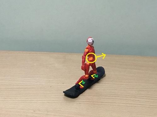 1.お腹を正面側に出したまま、スネをスノーボードのブーツのタン(スネの前の部分)に当てて足首を曲げる