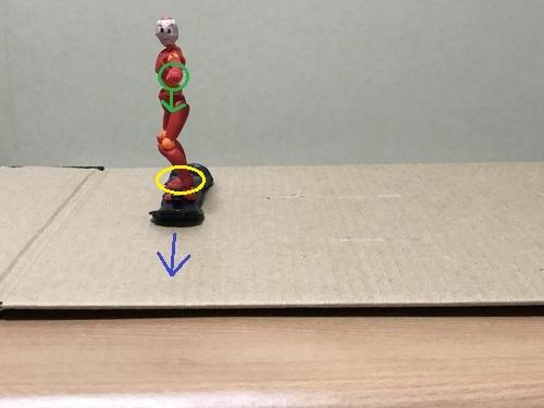 4.板の真ん中に後ろ足を乗せる