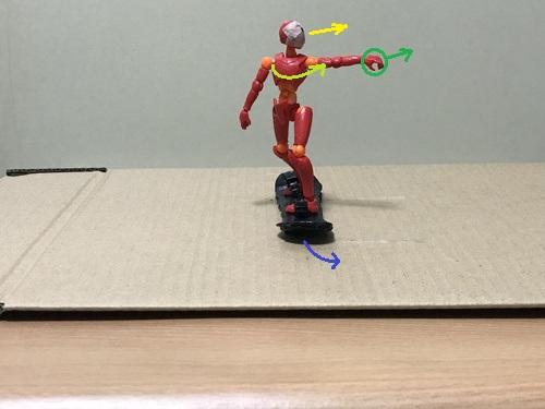 3.滑走したら、目線と前側の腕を背中側に思い切って回す