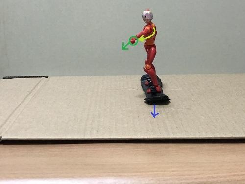 3.滑走したら、前側の腕を体の正面側に少し回して指を差していく
