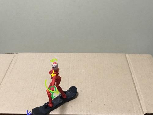 4.板の先端が完全に横に向く前に、目線と前側の腕を回してヒールサイドターンを始める