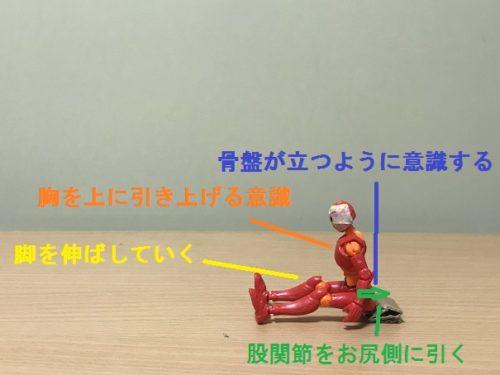 3.脚を伸ばしつつ、お尻を後ろに引くように意識し、30秒キープ