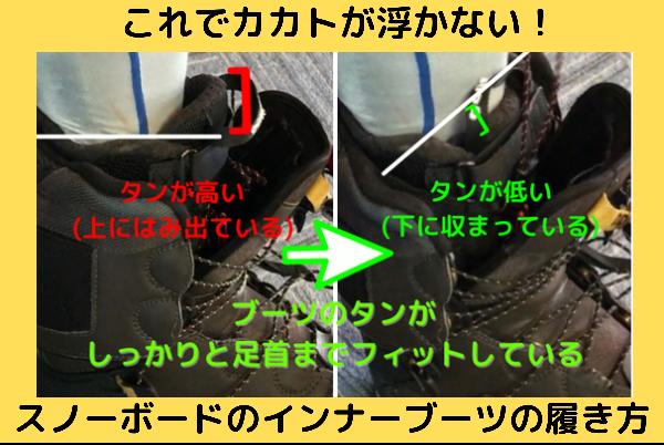 これでカカトが浮かない!スノーボードのインナーブーツの履き方